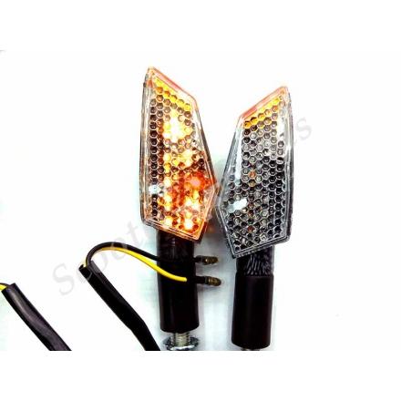 Повороти світлодіодні під карбон, багатокутник, зі змінними стеклами
