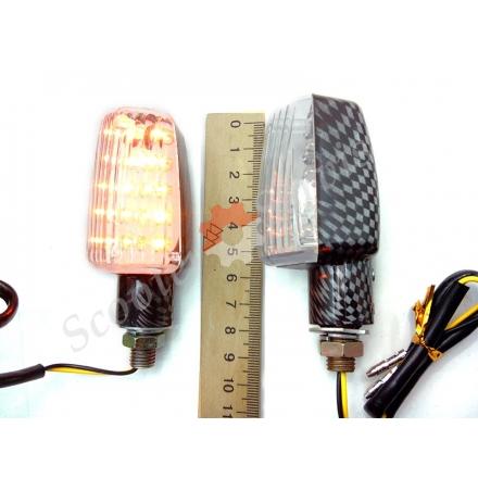 Повороти світлодіодні під карбон, ПС-6, мотоцикл, квадроцикл, скутер