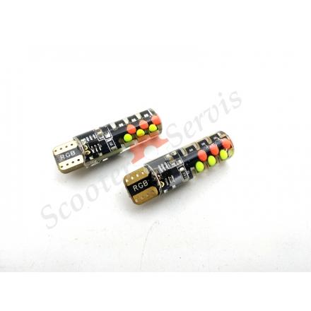 Лампа LED з цоколем T10, споживання 6W 12V, управління кольором пультом RGB