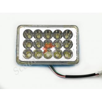 Лампа, вставка фары, светодиодная Led 15 диодов, ближний-дальний, габарит прямоугольная