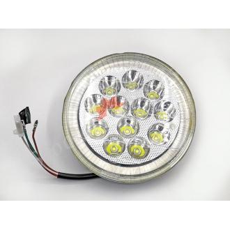 Лампа, вставка круглої фари, світлодіодна Led 12 діодів, ближній-дальній, габарит, діаметр 160мм