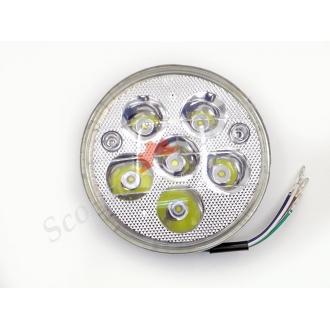 Лампа, вставка круглої фари, світлодіодна Led 5 діодів, ближній-дальній, габарит, діаметр 140мм