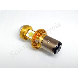 Светодиодная Led лампа с линзой, два уса, тип цоколя BA20d, 9-100V 8-16W ближний/ дальний свет