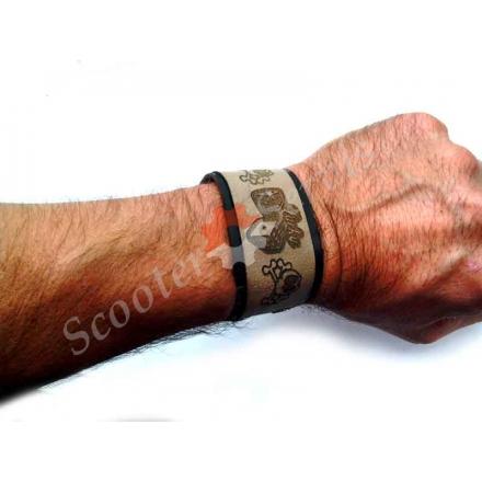 Мото браслет на руку, матеріал шкіра