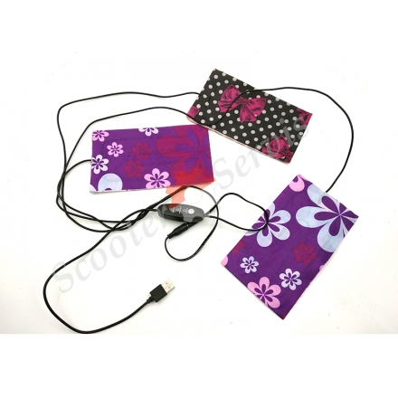 Пластини для одягу з електро підігрівом, 3 нагрівальні елементи з регулятором температури нагріву,  подача струму по USB