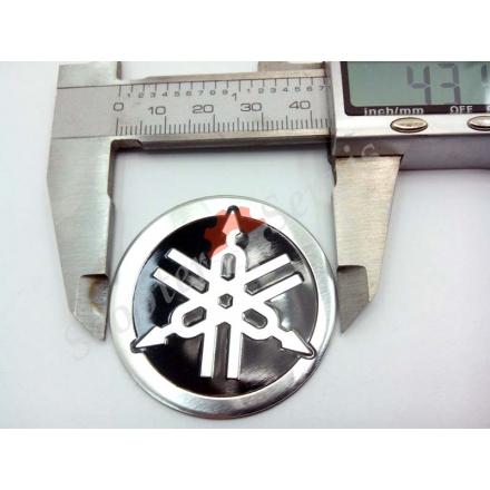 Логотип Ямаха, Yamaha, алюминиевый, объёмный, круглый, диаметр 43 мм, 55 мм