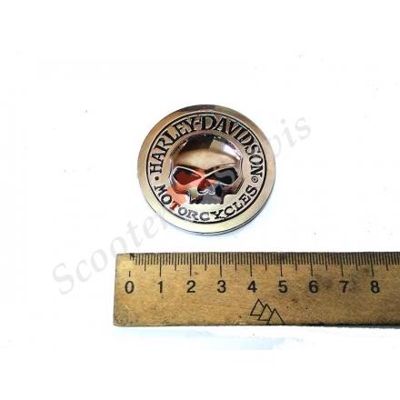 """Наклейка  Харли Девидсон, Harley Devidson """"череп"""" круглая диаметр 5см, хромированная нержавейка."""
