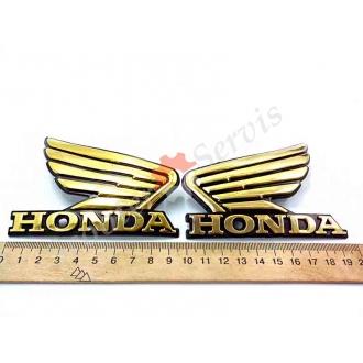 """Наклейка """"Honda"""" (Хонда) """"Крылья"""", объёмная, (золотой) хромированный пластик, на бак мотоцикла, полукруглый профиль"""