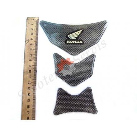 """Наклейка на бак мотоцикла, """"Honda"""" силиконовая объёмная, цвет карбон"""