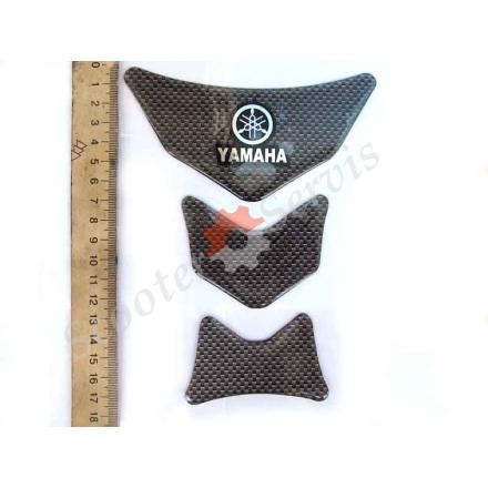"""Наклейка на бак мотоцикла, """"Yamaha"""" силиконовая объёмная, цвет карбон"""