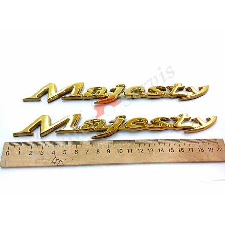 "Наклейка ямаха ""Majesty"", Маджести, хромированный пластик золото, хром"