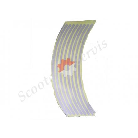 Наклейки на обод колеса светоотражающие 15-19 дюймов (серебро)