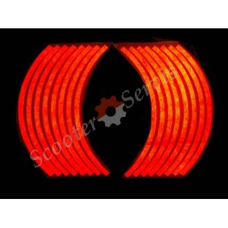 Наклейки светоотражающие на обод, 10-13 дюйм, (красный)