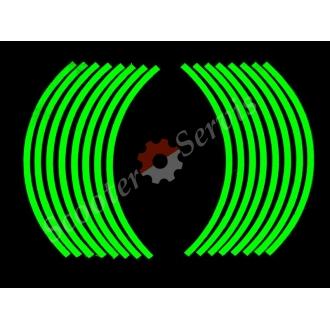 Наклейки светоотражающие на обод, 10-14 дюйм, (зелёный)