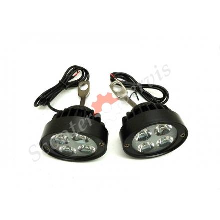 Лампи світлодіодні далекого, ближнього освітлення 12-80V для скутера, мотоцикла, квадроцикла, баггі, електро транспорту, кріплення під дзеркала, шарніри