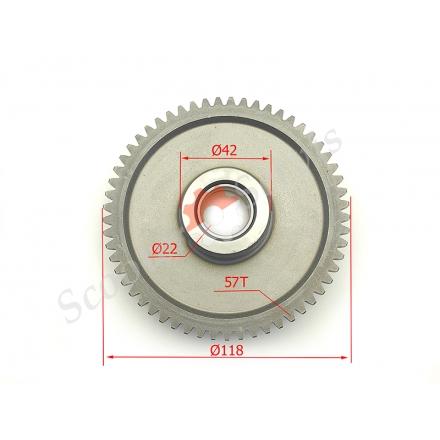 Зірка стартерного механізму муфти мотоцикла Viper, ZS125, CB150 / 250, CG150 / 250, діаметр 118мм, 57 зубів