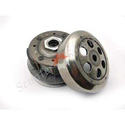 Задний вариатор в сборе тип YP250 диаметр 143 мм, для квадроциклов 250 300 кубов, Баутиан, Линхай, Кивей, Кимко, 300 кубов, Baotian, Kymco, Linhai, Keeway, 3х 4х колодочный