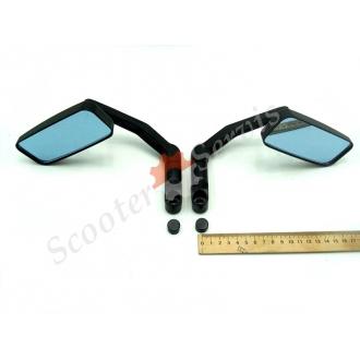 Дзеркала з переднім виносом, металеві, сферичні, антиблик, (чорний матовий)