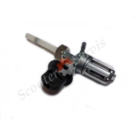 Кран паливний в бак для скутеретти, мотоцикла, квадроцикла, трицикла, зі скляним відстійником і фільтром