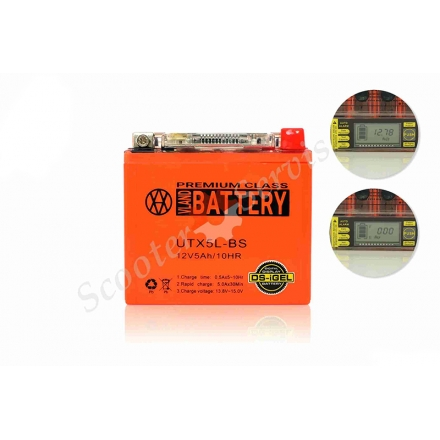 Аккумулятор UTX5L‑BS, 12V 5A, c встроенным вольтметром, гелевый