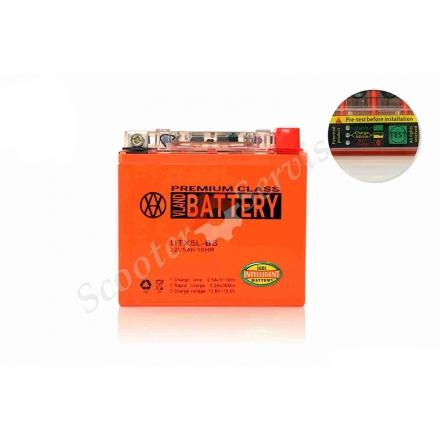 Аккумулятор UTX5L‑BS, 12V 5A, гелевый, с индикатором состояния батареи