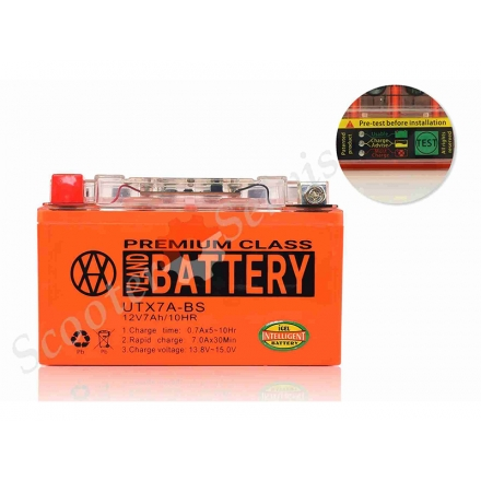 Аккумулятор UTX7A‑BS, 12V 7A, гелевый, с индикатором о состоянии батареи