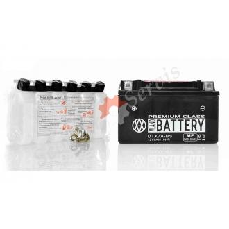 Акумулятор UTX7A-BS, 12V 7A, кислотний, чорний, великий