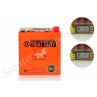 Аккумулятор UTX7L‑BS, 12V 7A, c показателем напряжения, вольтметром