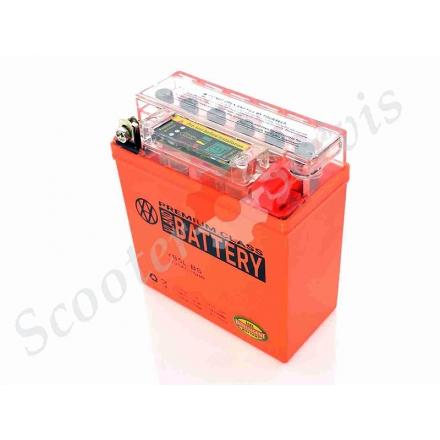 Аккумулятор YB5L‑BS, 12V 5A, с показателем состояния батареи, гелевый