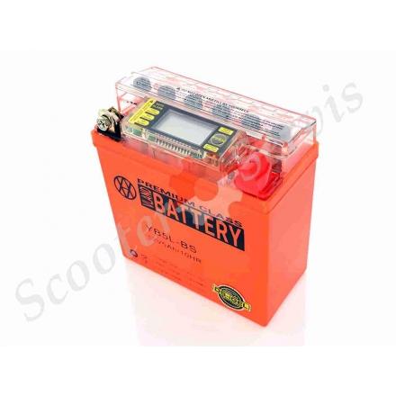 Аккумулятор YB5L‑BS, 12V 5A, с встроенным вольтметром, гелевый,